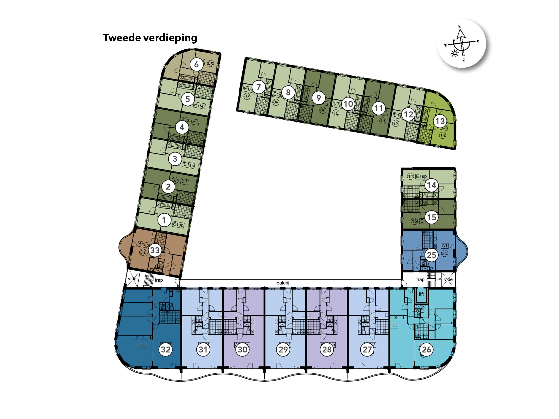 Kavelkaart De Riede Tweede verdieping