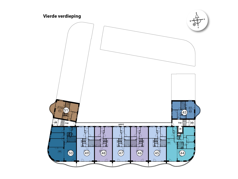 Kavelkaart De Riede vierde verdieping